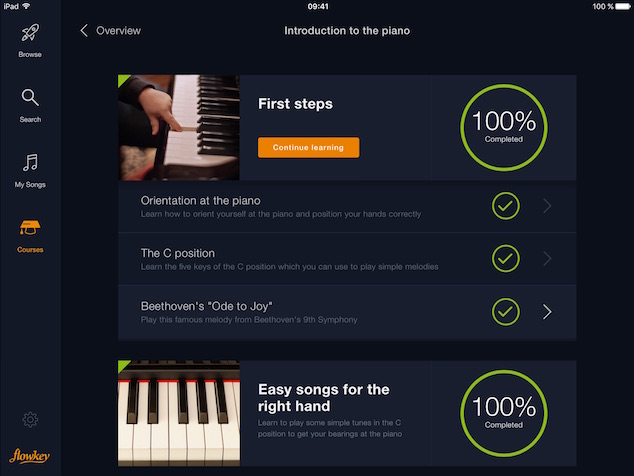 choose your Yamaha instrument, activate the app and learn